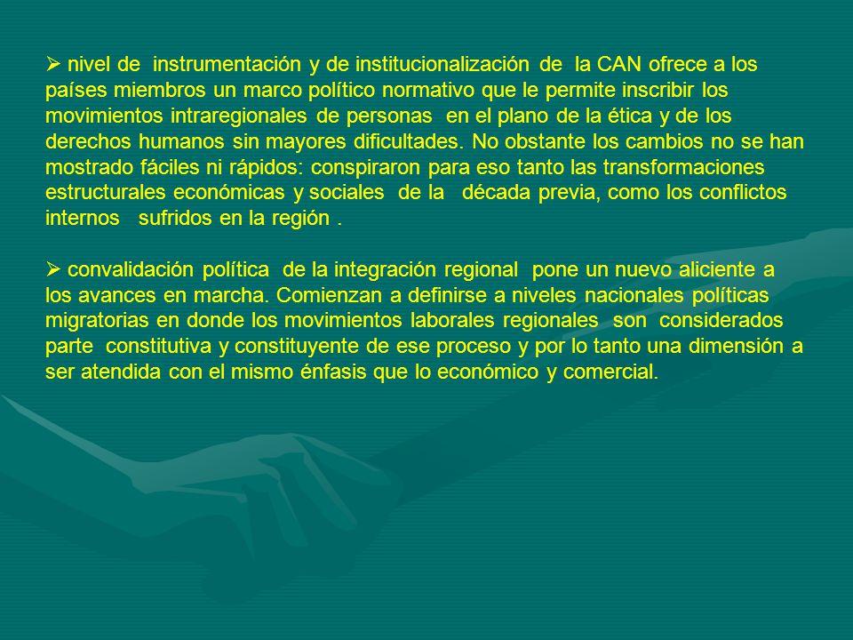 nivel de instrumentación y de institucionalización de la CAN ofrece a los países miembros un marco político normativo que le permite inscribir los movimientos intraregionales de personas en el plano de la ética y de los derechos humanos sin mayores dificultades.
