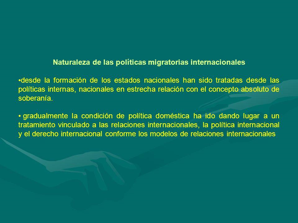 Naturaleza de las políticas migratorias internacionales desde la formación de los estados nacionales han sido tratadas desde las políticas internas, nacionales en estrecha relación con el concepto absoluto de soberanía.
