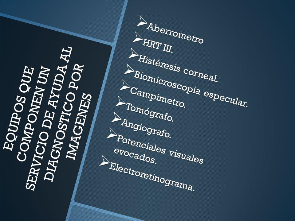 EQUIPOS QUE COMPONEN UN SERVICIO DE AYUDA AL DIAGNOSTICO POR IMAGENES EQUIPOS QUE COMPONEN UN SERVICIO DE AYUDA AL DIAGNOSTICO POR IMAGENES Aberrometro Aberrometro HRT III.
