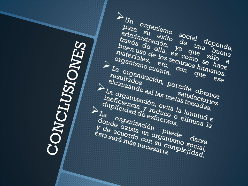 CONCLUSIONES Un organismo social depende, para su éxito de una buena administración, ya que sólo a través de ella, es como se hace buen uso de los recursos humanos, materiales, etc.