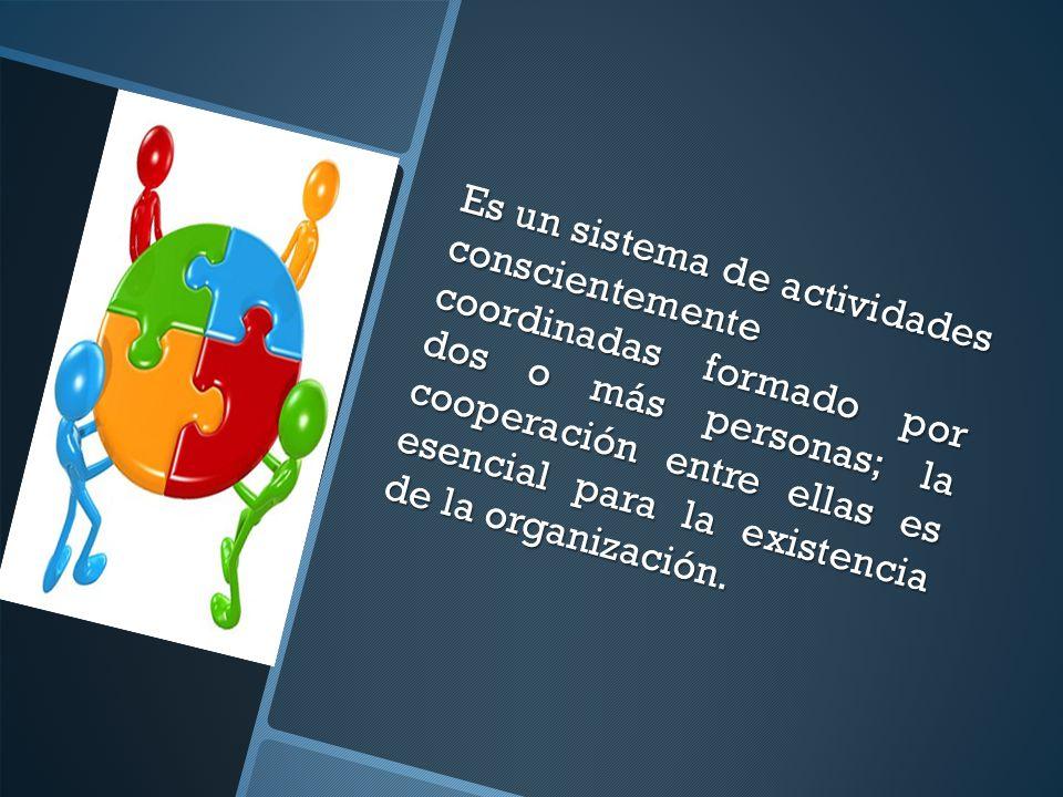 Es un sistema de actividades conscientemente coordinadas formado por dos o más personas; la cooperación entre ellas es esencial para la existencia de la organización.