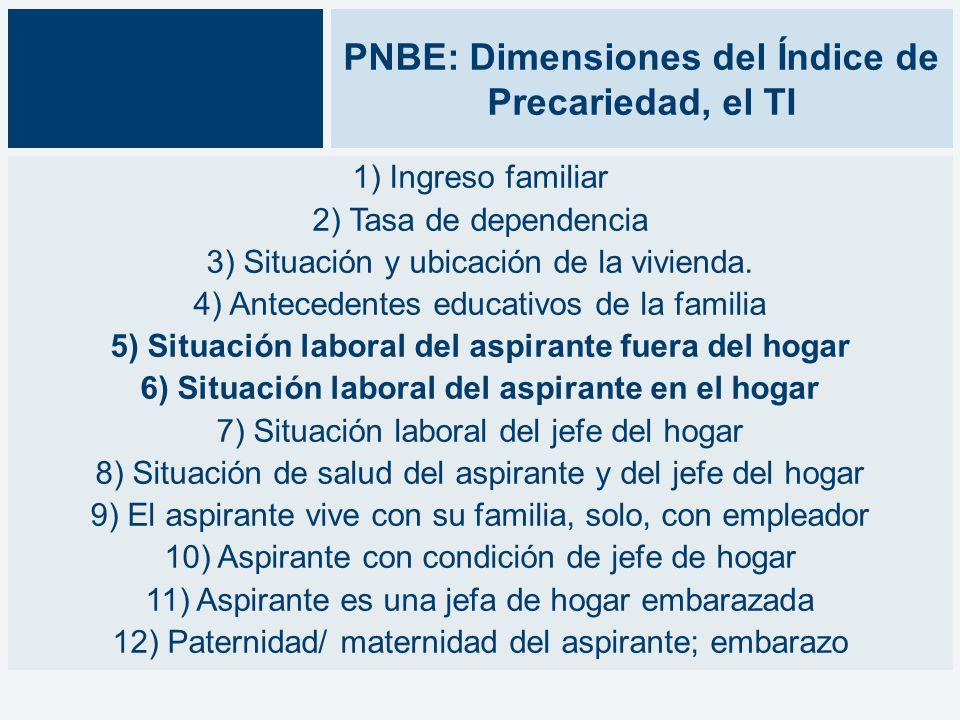 PNBE: Dimensiones del Índice de Precariedad, el TI 1) Ingreso familiar 2) Tasa de dependencia 3) Situación y ubicación de la vivienda.