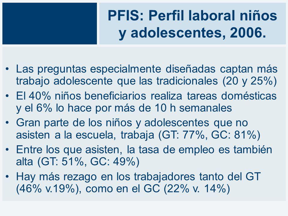 PFIS: Perfil laboral niños y adolescentes, 2006.