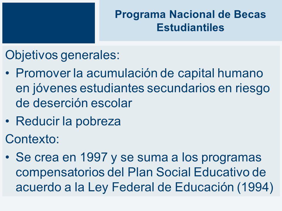 Programa Nacional de Becas Estudiantiles Objetivos generales: Promover la acumulación de capital humano en jóvenes estudiantes secundarios en riesgo de deserción escolar Reducir la pobreza Contexto: Se crea en 1997 y se suma a los programas compensatorios del Plan Social Educativo de acuerdo a la Ley Federal de Educación (1994)