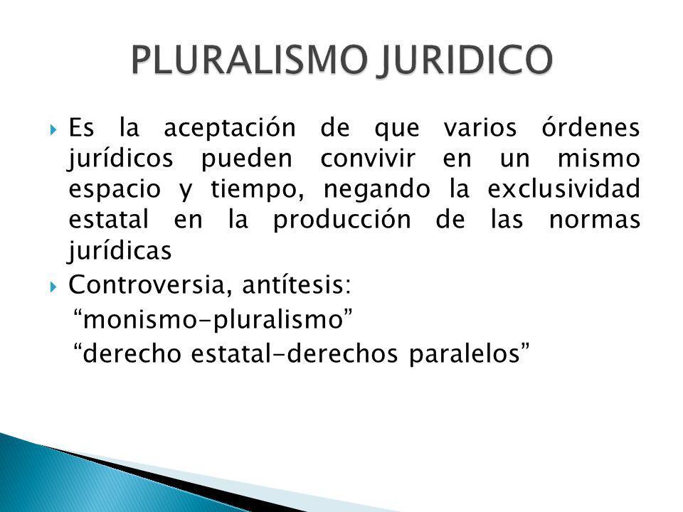 Es la aceptación de que varios órdenes jurídicos pueden convivir en un mismo espacio y tiempo, negando la exclusividad estatal en la producción de las normas jurídicas Controversia, antítesis: monismo-pluralismo derecho estatal-derechos paralelos