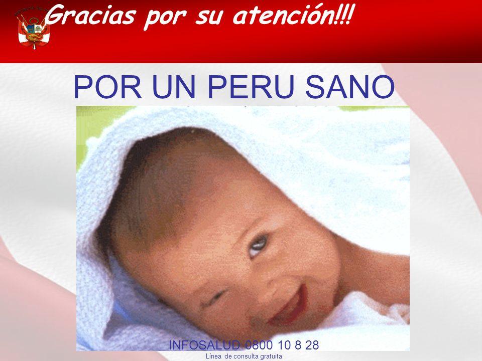 Gracias por su atención!!! POR UN PERU SANO INFOSALUD 0800 10 8 28 Línea de consulta gratuita