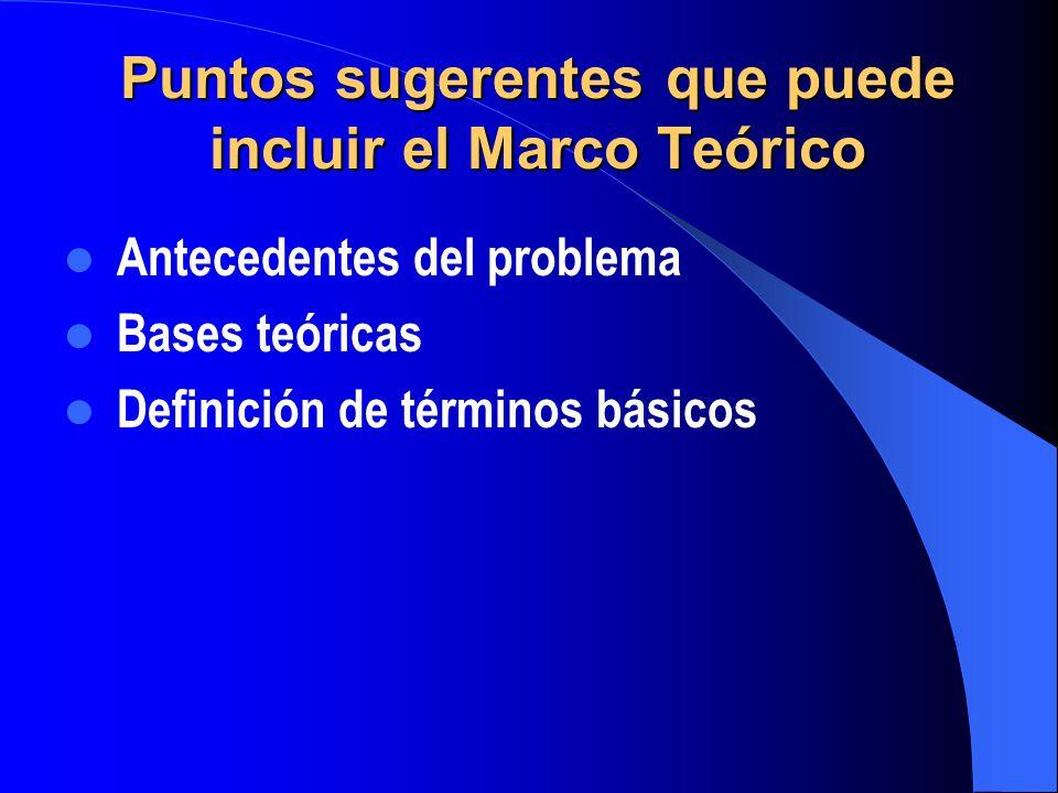 Puntos sugerentes que puede incluir el Marco Teórico Antecedentes del problema Bases teóricas Definición de términos básicos