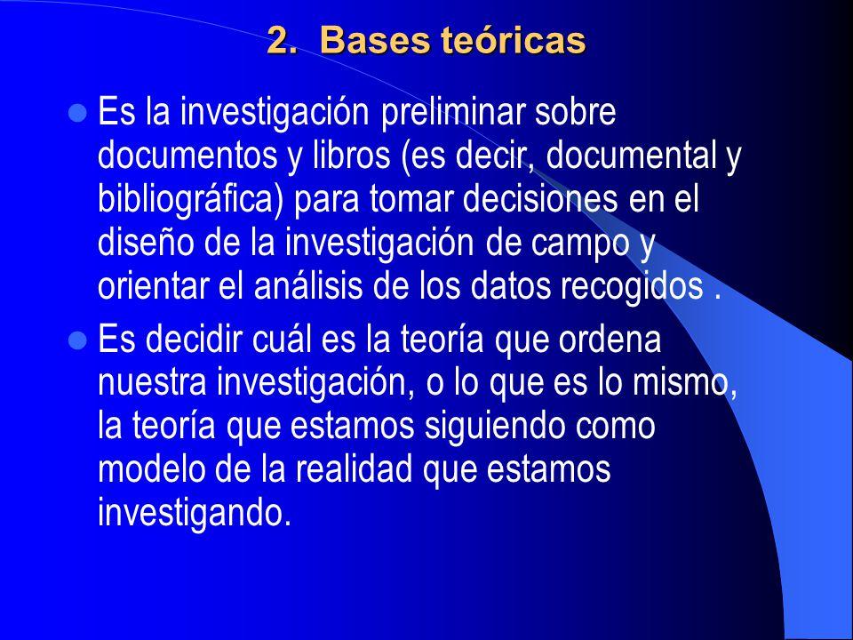 2. Bases teóricas Es la investigación preliminar sobre documentos y libros (es decir, documental y bibliográfica) para tomar decisiones en el diseño d