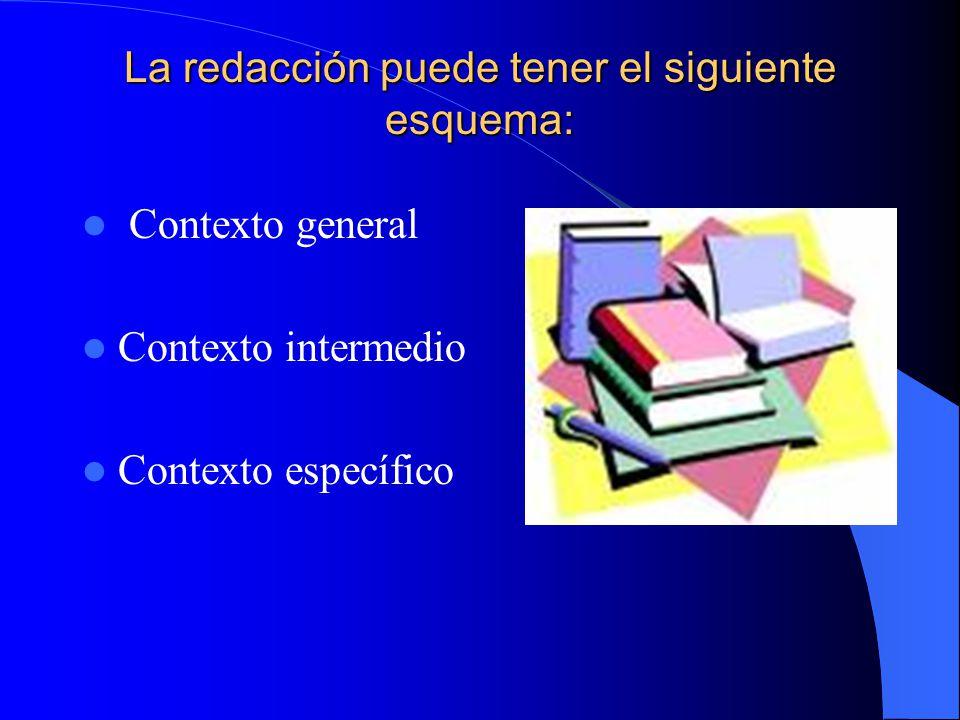 La redacción puede tener el siguiente esquema: Contexto general Contexto intermedio Contexto específico