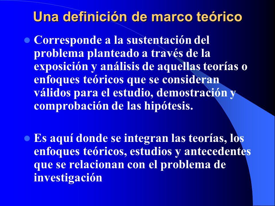 Una definición de marco teórico Corresponde a la sustentación del problema planteado a través de la exposición y análisis de aquellas teorías o enfoqu