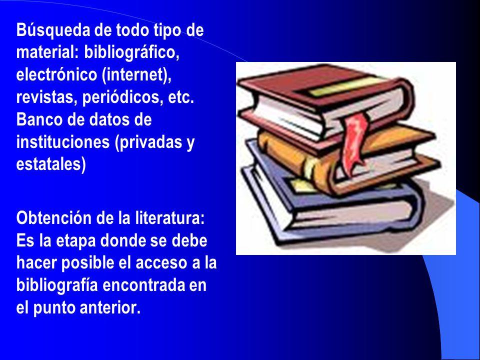 Búsqueda de todo tipo de material: bibliográfico, electrónico (internet), revistas, periódicos, etc. Banco de datos de instituciones (privadas y estat