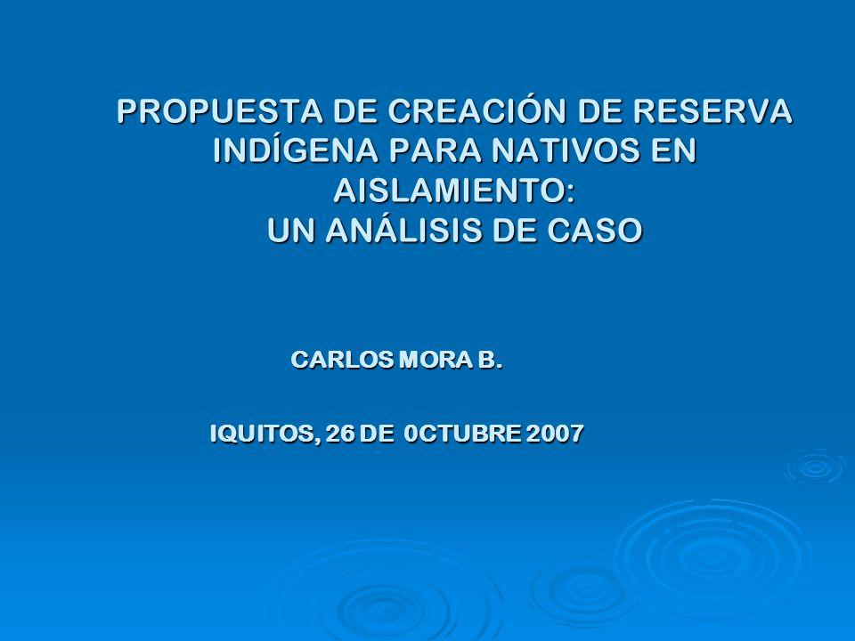 PROPUESTA DE CREACIÓN DE RESERVA INDÍGENA PARA NATIVOS EN AISLAMIENTO: UN ANÁLISIS DE CASO CARLOS MORA B.
