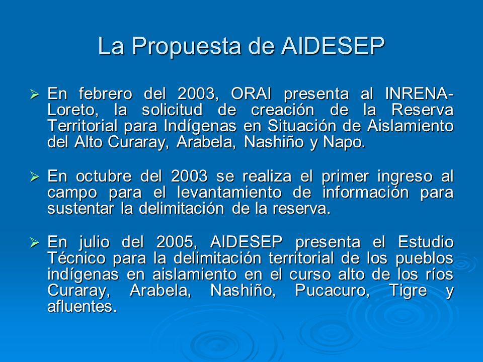 La Propuesta de AIDESEP En febrero del 2003, ORAI presenta al INRENA- Loreto, la solicitud de creación de la Reserva Territorial para Indígenas en Situación de Aislamiento del Alto Curaray, Arabela, Nashiño y Napo.