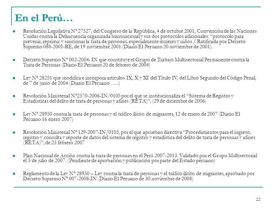 21 Leyes que penalizan trata de personas en países de América Latina ArgentinaBeliceBoliviaBrasilCanadáChile Ley 26364/2008 Prevención y Sanción Trata de Personas y Asistencia a víctimas Ley 2003 Trata de Personas Ley 3325/2006 Trata y Tráfico de Personas Ley del 18 de enero 2006 y Trata y Tráfico de Personas y otros delitos relacionados Decreto 6347/2008 Plan Nacional de la Trata de Personas Ley 1106/2005 Código Penal Ley de Inmigración y Protección para los Refugiados, junio 2002 Ley-49, Para enmendar el Código Penal Art.
