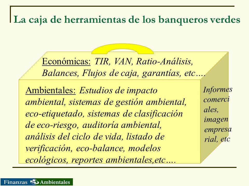 La caja de herramientas de los banqueros verdes Económicas: TIR, VAN, Ratio-Análisis, Balances, Flujos de caja, garantías, etc…. Ambientales: Estudios