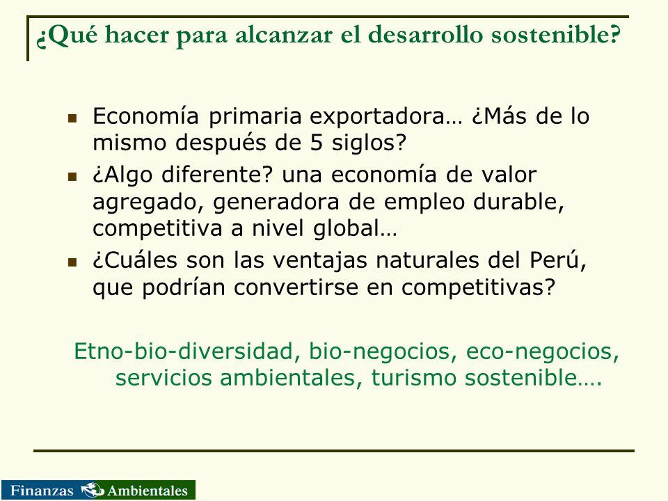 ¿Qué hacer para alcanzar el desarrollo sostenible? Economía primaria exportadora… ¿Más de lo mismo después de 5 siglos? ¿Algo diferente? una economía