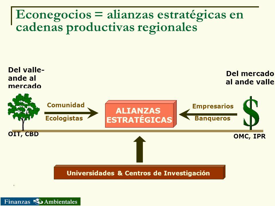 Econegocios = alianzas estratégicas en cadenas productivas regionales Del valle- ande al mercado Del mercado al ande valle Empresarios Comunidad OIT,