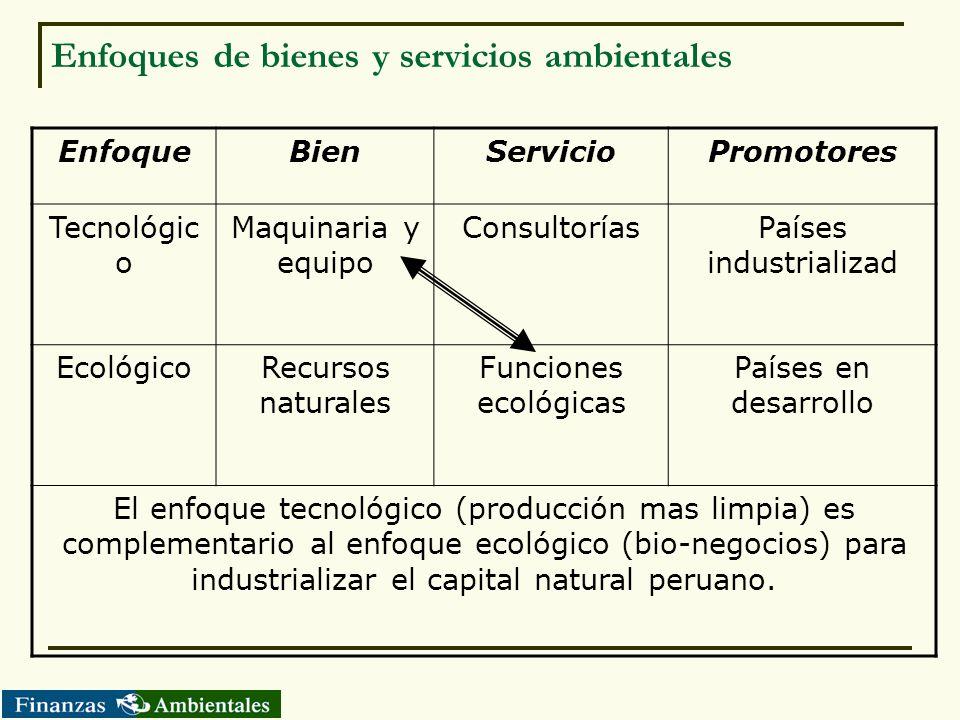 Enfoques de bienes y servicios ambientales EnfoqueBienServicioPromotores Tecnológic o Maquinaria y equipo ConsultoríasPaíses industrializad EcológicoR