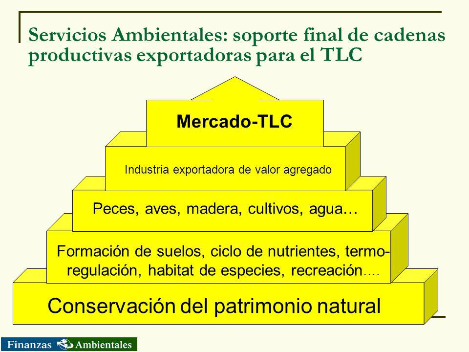 Servicios Ambientales: soporte final de cadenas productivas exportadoras para el TLC Formación de suelos, ciclo de nutrientes, termo- regulación, habi