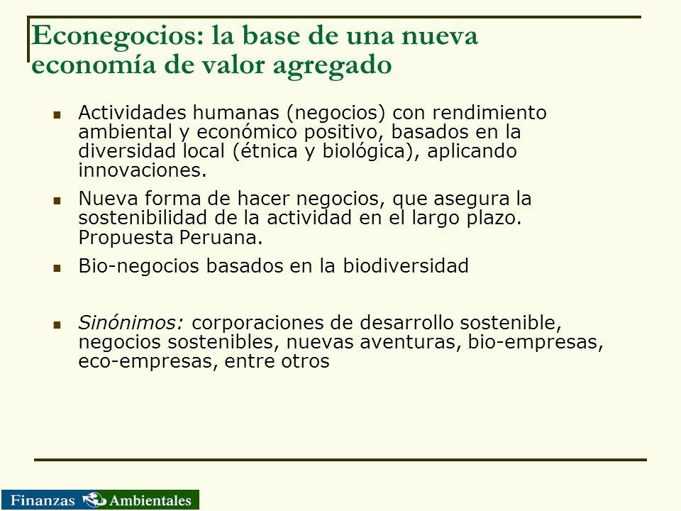 Econegocios: la base de una nueva economía de valor agregado Actividades humanas (negocios) con rendimiento ambiental y económico positivo, basados en