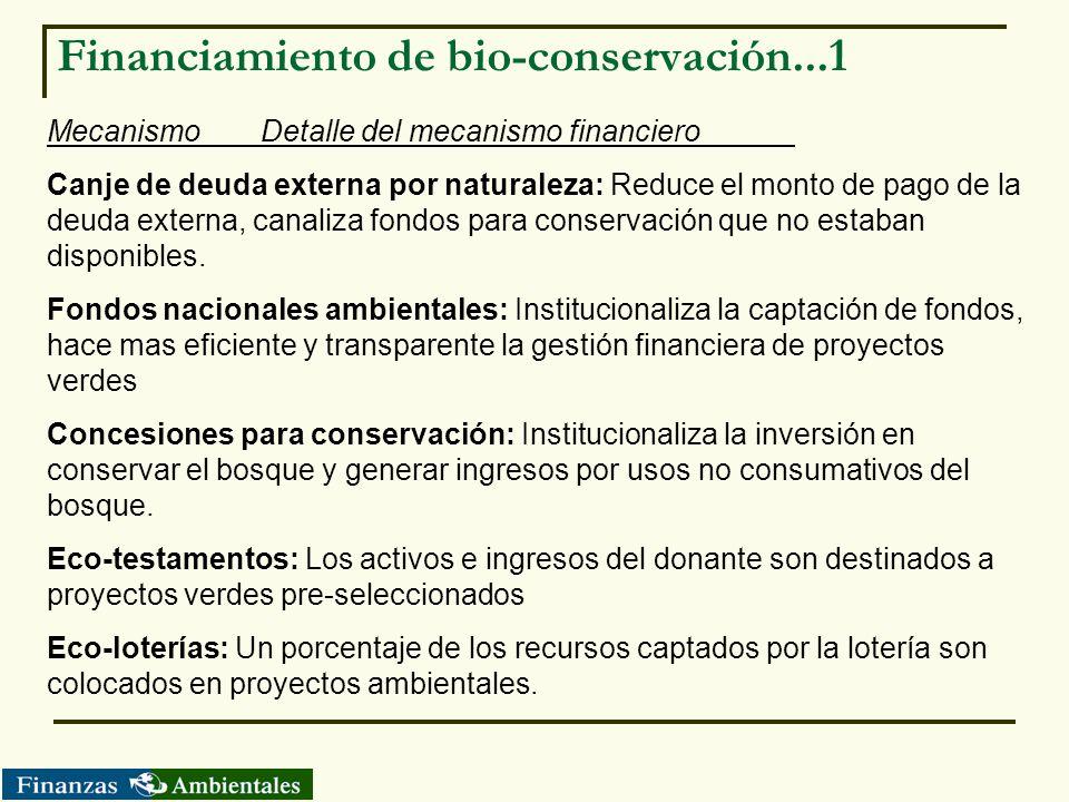 Financiamiento de bio-conservación...1 MecanismoDetalle del mecanismo financiero Canje de deuda externa por naturaleza: Reduce el monto de pago de la
