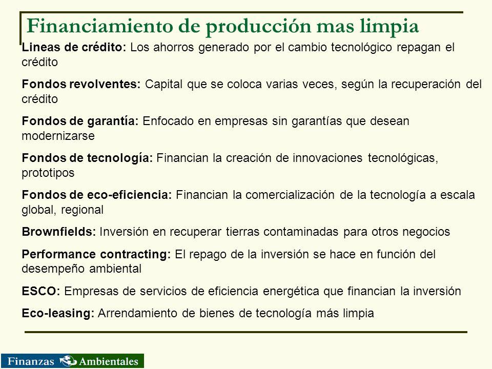 Financiamiento de producción mas limpia Lineas de crédito: Los ahorros generado por el cambio tecnológico repagan el crédito Fondos revolventes: Capit