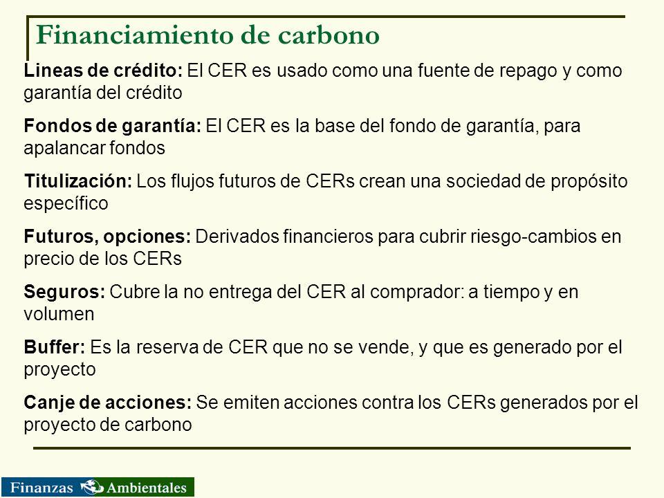 Financiamiento de carbono Lineas de crédito: El CER es usado como una fuente de repago y como garantía del crédito Fondos de garantía: El CER es la ba
