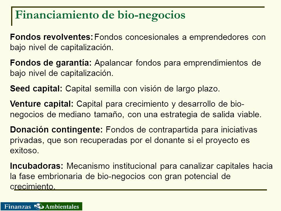 Financiamiento de bio-negocios Fondos revolventes:Fondos concesionales a emprendedores con bajo nivel de capitalización. Fondos de garantía: Apalancar