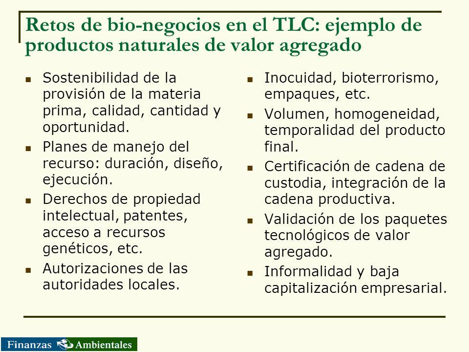 Retos de bio-negocios en el TLC: ejemplo de productos naturales de valor agregado Sostenibilidad de la provisión de la materia prima, calidad, cantida