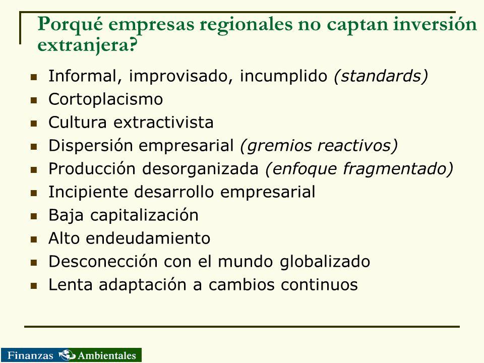 Porqué empresas regionales no captan inversión extranjera? Informal, improvisado, incumplido (standards) Cortoplacismo Cultura extractivista Dispersió