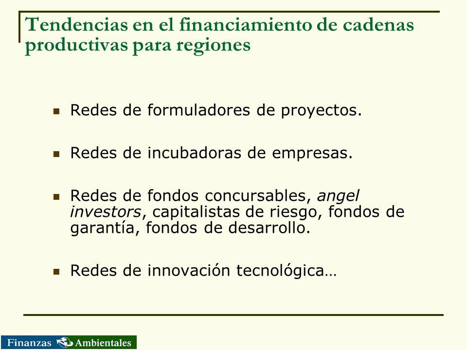 Tendencias en el financiamiento de cadenas productivas para regiones Redes de formuladores de proyectos. Redes de incubadoras de empresas. Redes de fo