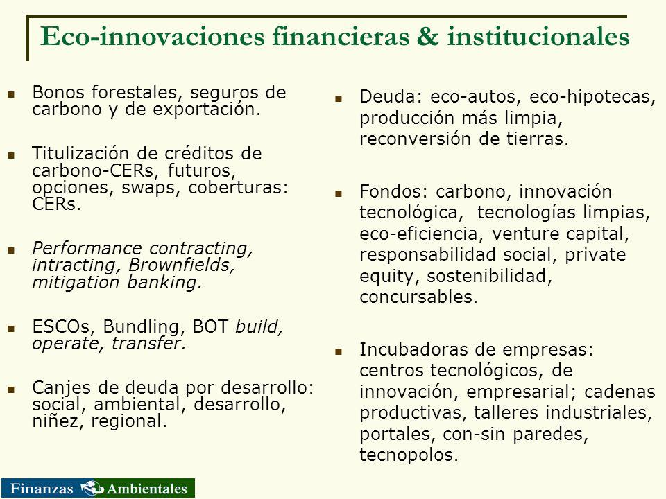 Eco-innovaciones financieras & institucionales Bonos forestales, seguros de carbono y de exportación. Titulización de créditos de carbono-CERs, futuro