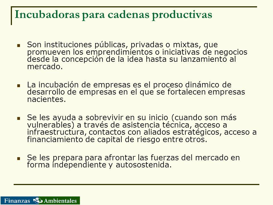 Incubadoras para cadenas productivas Son instituciones públicas, privadas o mixtas, que promueven los emprendimientos o iniciativas de negocios desde