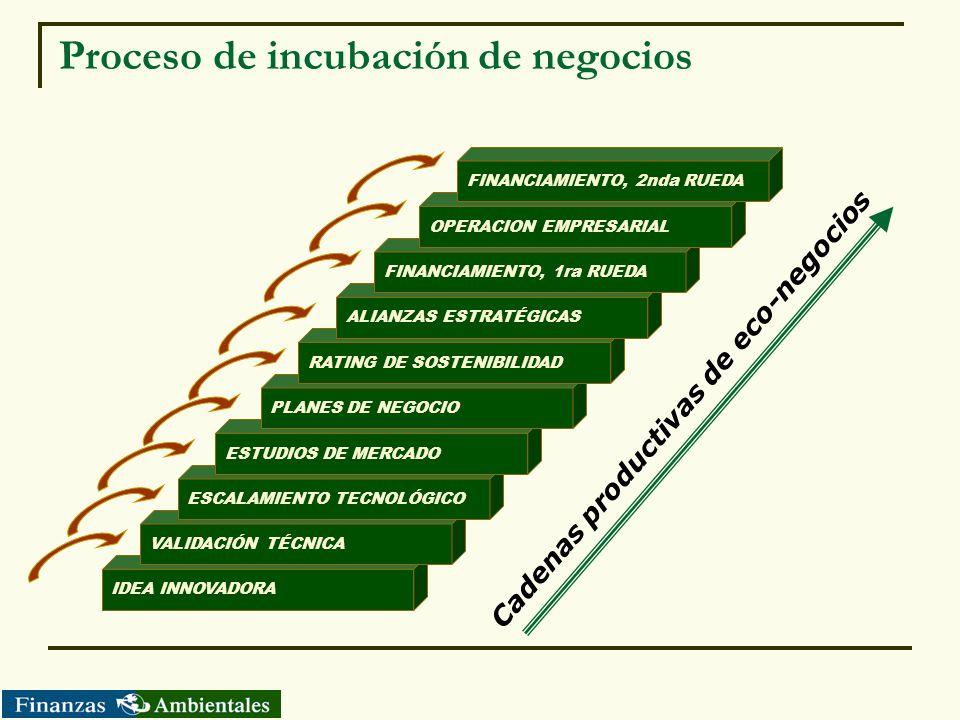Proceso de incubación de negocios Cadenas productivas de eco-negocios IDEA INNOVADORA VALIDACIÓN TÉCNICA ESCALAMIENTO TECNOLÓGICO ESTUDIOS DE MERCADO