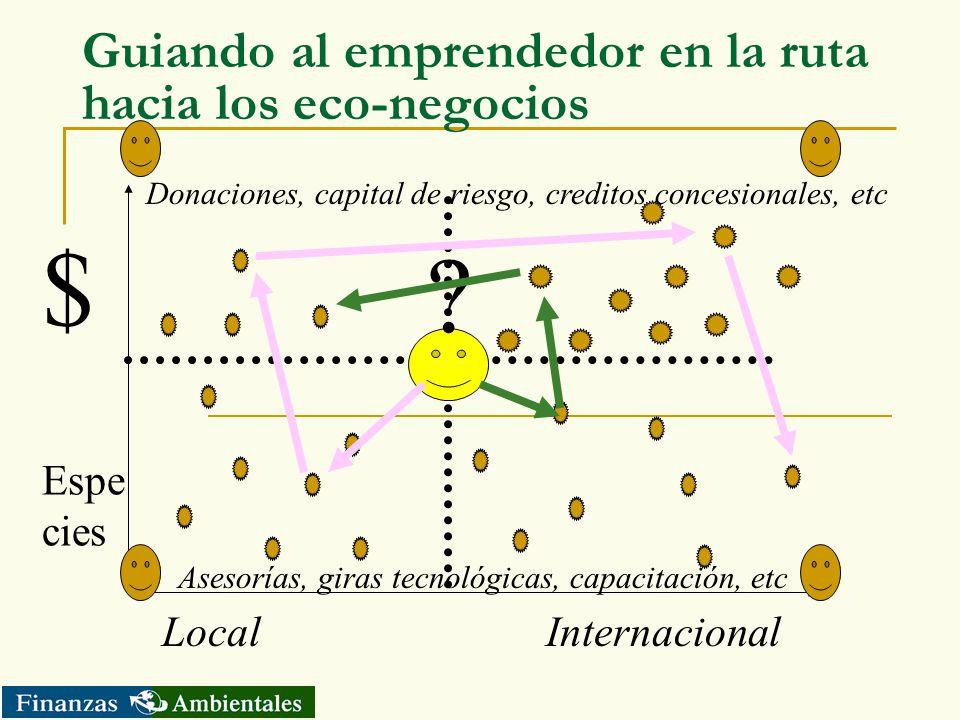 Guiando al emprendedor en la ruta hacia los eco-negocios Local Internacional $ Espe cies ? Donaciones, capital de riesgo, creditos concesionales, etc