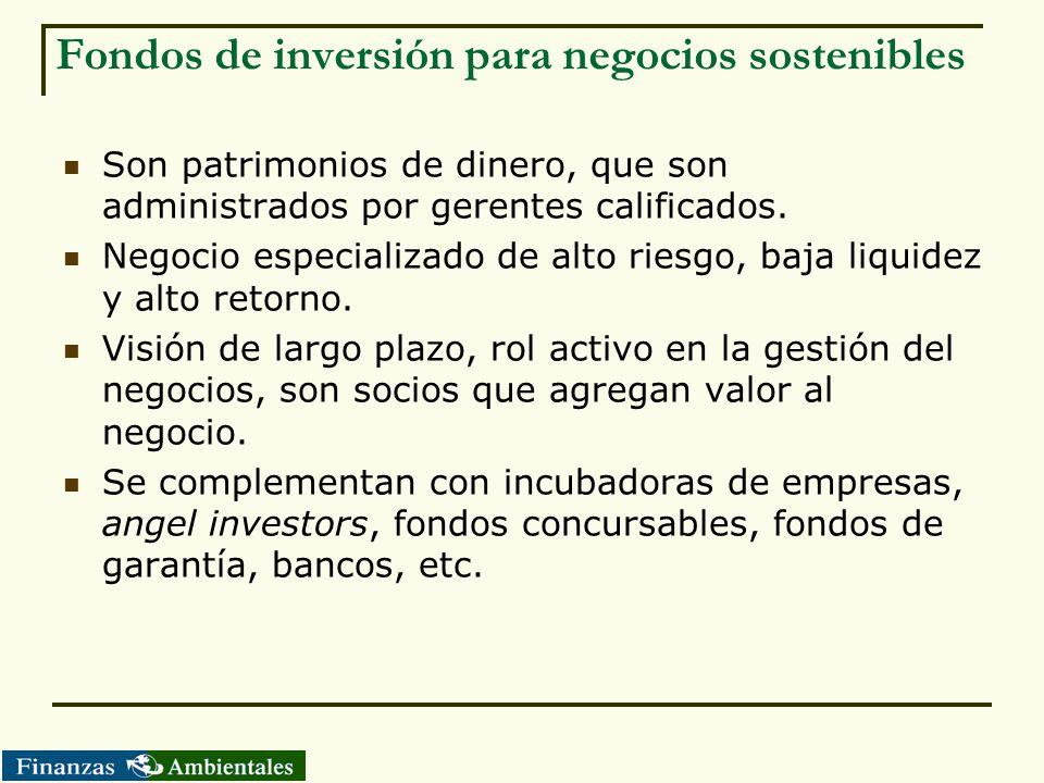 Fondos de inversión para negocios sostenibles Son patrimonios de dinero, que son administrados por gerentes calificados. Negocio especializado de alto