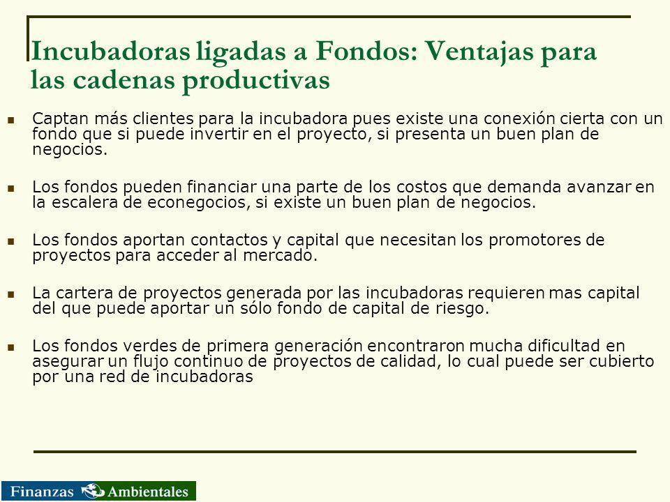 Incubadoras ligadas a Fondos: Ventajas para las cadenas productivas Captan más clientes para la incubadora pues existe una conexión cierta con un fond
