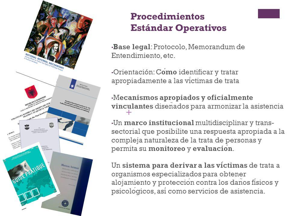 + Procedimientos Estándar Operativos Base legal: Protocolo, Memorandum de Entendimiento, etc. Orientación: Cómo identificar y tratar apropiadamente a
