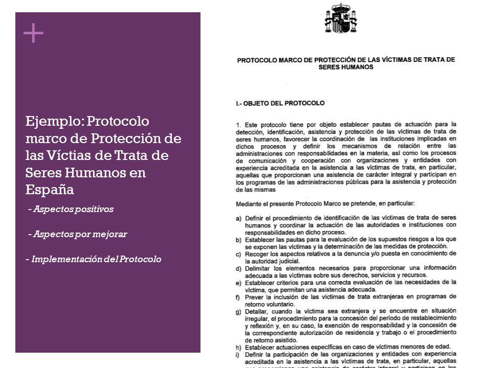 + Ejemplo: Protocolo marco de Protección de las Víctias de Trata de Seres Humanos en España - - Aspectos positivos - - Aspectos por mejorar - Implemen