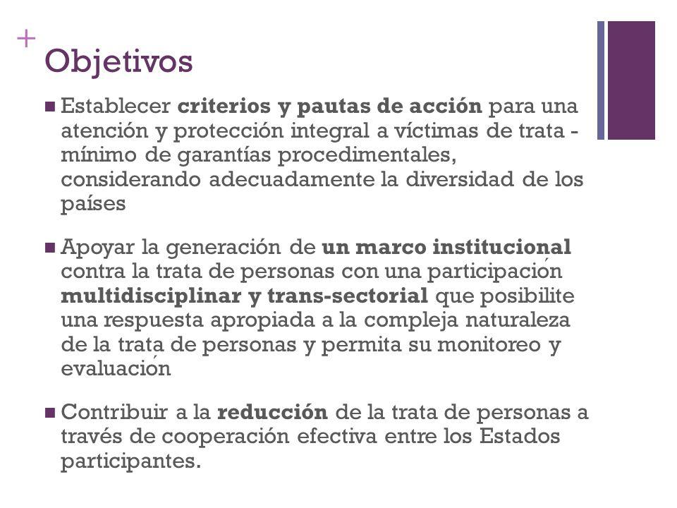 + Objetivos Establecer criterios y pautas de acción para una atención y protección integral a víctimas de trata - mínimo de garantías procedimentales,