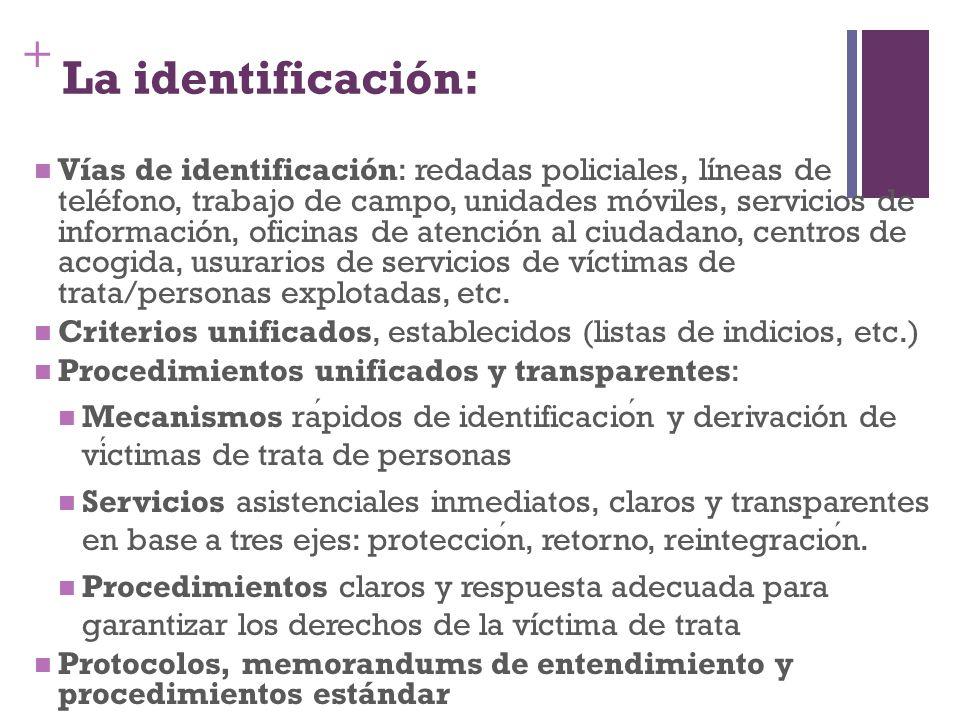 + La identificación: Vías de identificación: redadas policiales, líneas de teléfono, trabajo de campo, unidades móviles, servicios de información, ofi