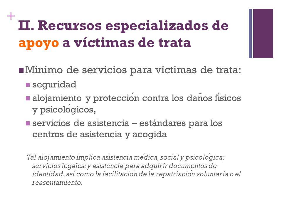 + II. Recursos especializados de apoyo a víctimas de trata Mínimo de servicios para víctimas de trata: seguridad alojamiento y proteccion contra los d