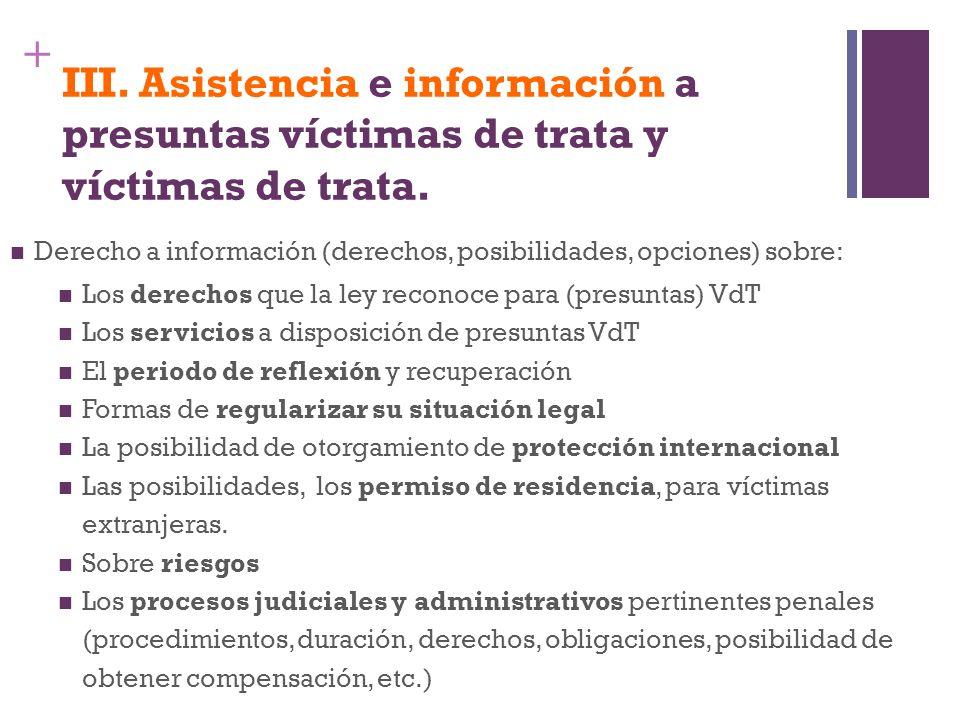 + III. Asistencia e información a presuntas víctimas de trata y víctimas de trata. Derecho a información (derechos, posibilidades, opciones) sobre: Lo