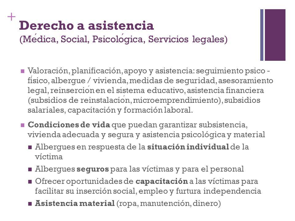 + Derecho a asistencia (Medica, Social, Psicologica, Servicios legales) Valoración, planificación, apoyo y asistencia: seguimiento psico - fisico, alb