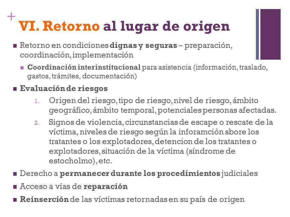 + VI. Retorno al lugar de origen Retorno en condiciones dignas y seguras – preparación, coordinación, implementación Coordinación interinstitucional p