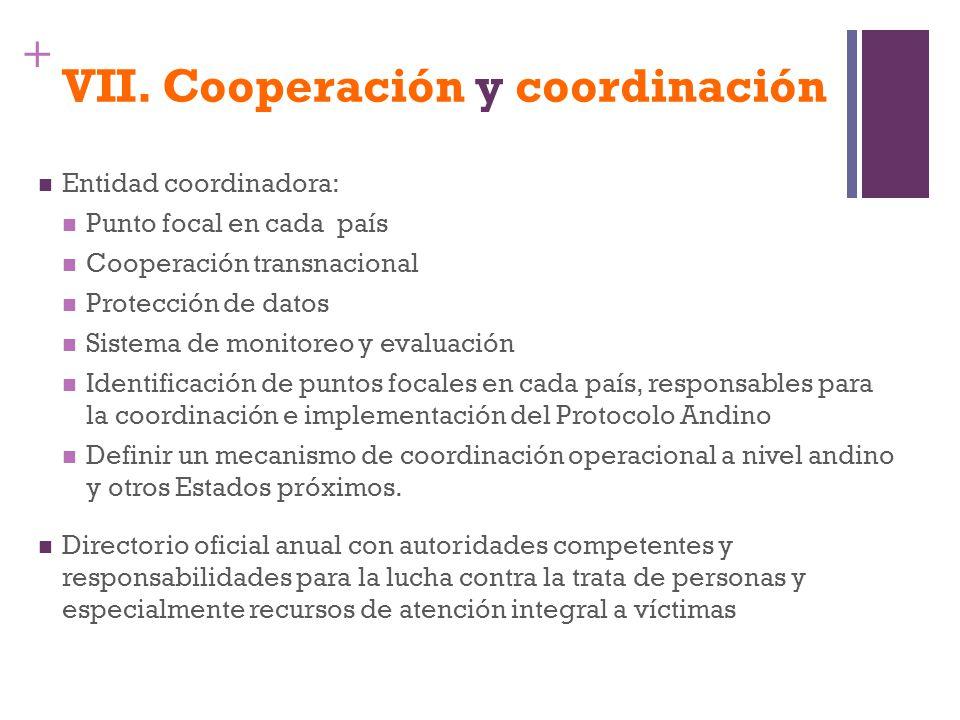 + VII. Cooperación y coordinación Entidad coordinadora: Punto focal en cada país Cooperación transnacional Protección de datos Sistema de monitoreo y