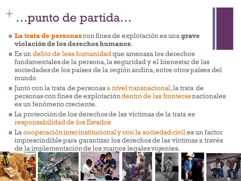 + …punto de partida… La trata de personas con fines de explotación es una grave violación de los derechos humanos. Es un delito de lesa humanidad que
