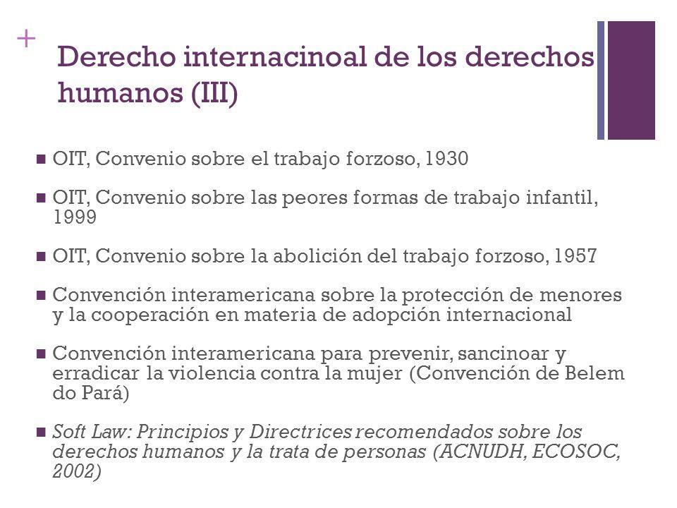 + Derecho internacinoal de los derechos humanos (III) OIT, Convenio sobre el trabajo forzoso, 1930 OIT, Convenio sobre las peores formas de trabajo in