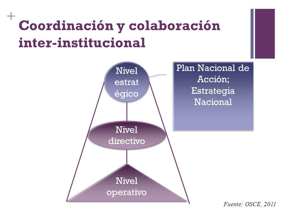 + Coordinación y colaboración inter-institucional Nivel operativo Nivel directivo Nivel estrat égico Plan Nacional de Acción; Estrategia Nacional Plan