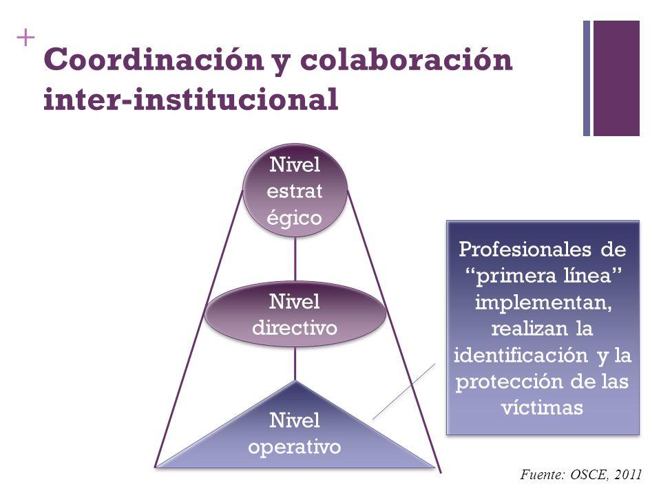 + Coordinación y colaboración inter-institucional Nivel operativo Nivel directivo Nivel estrat égico Profesionales de primera línea implementan, reali